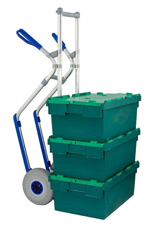 Carretilla Manual 'Favorita' Ruedas Impinchables 'AIRLEX' EXPRESSO Aluminio cargada con mercancía