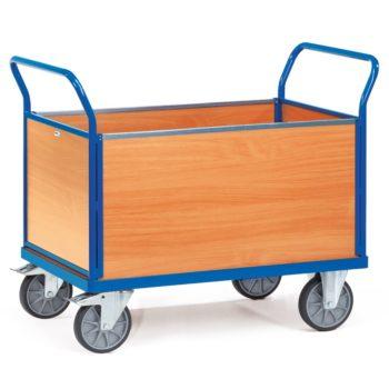 Carro plataforma de carga 600kg con cuatro paredes de madera - Sitramo's Carretillas