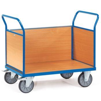 Carro plataforma de carga con tres paredes de madera - 600kg Sitramo's Carretillas