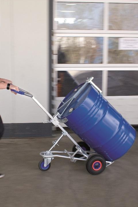 Carretilla para bidones con una rueda accesoria